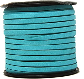 Mandala Crafts 50 Yards 5mm Wide Jewelry Making Flat Micro Fiber Lace Faux Suede Leather Cord (5mm, Medium Turquoise)