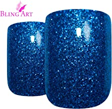 False Nails by Bling Art Blue Gel French Manicure Fake Medium Tips with Glue