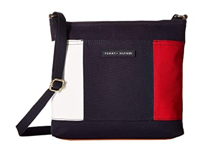 Tommy Hilfiger TH Flag Large North/South Canvas Crossbody (Tommy Navy) Cross Body Handbags