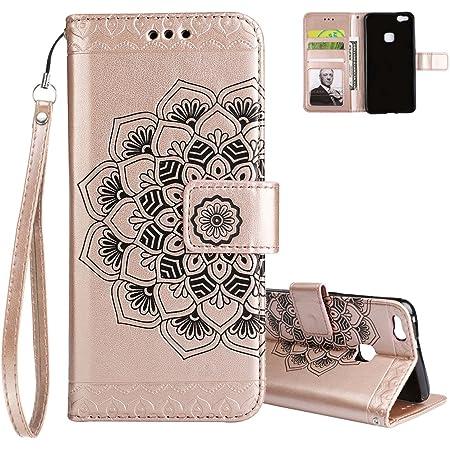 Aeeque Pochette Coque Huawei P10 Lite Rose Or Mandala Fleur Motif ...