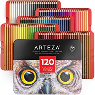 ARTEZA Colored Pencils, Professional Set of 120 Colors, Soft Wax-Based Cores, Ideal for Drawing Art, Sketching, Shading & ...