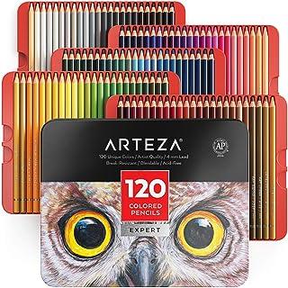 Arteza Kleurpotloden-set, 120-delig, zachte kleurpotloden om mee te tekenen, schetsen en kleuren, Metalen kleurdoos met po...