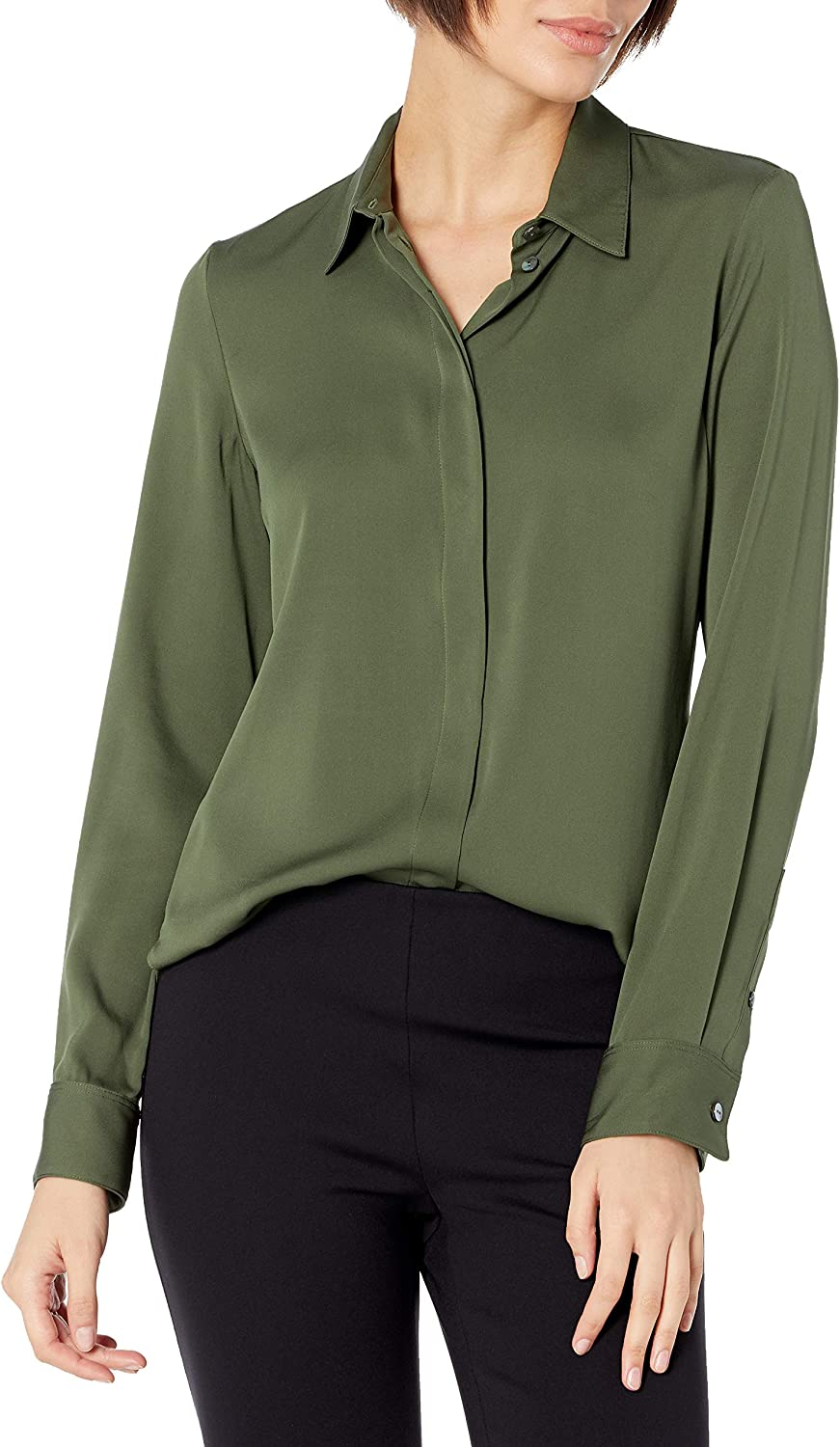 Theory Women's Classic Fitted Shirt Core Stretch Silk