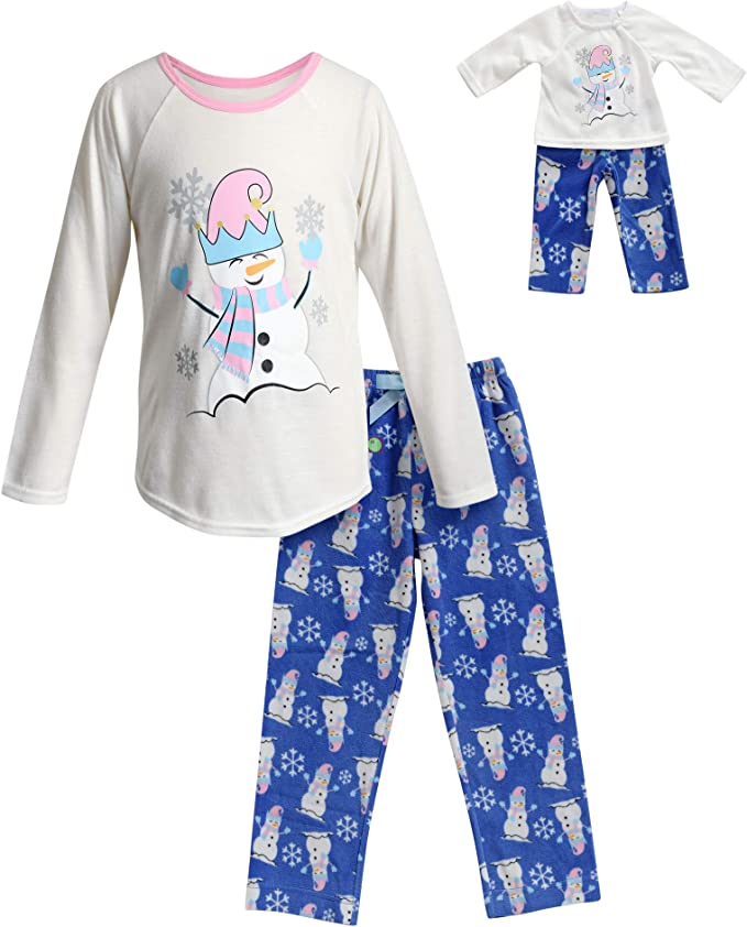 Dollie /& Me Girls Snug Fit Sleepwear Set and Matching Doll Outfit in Dress