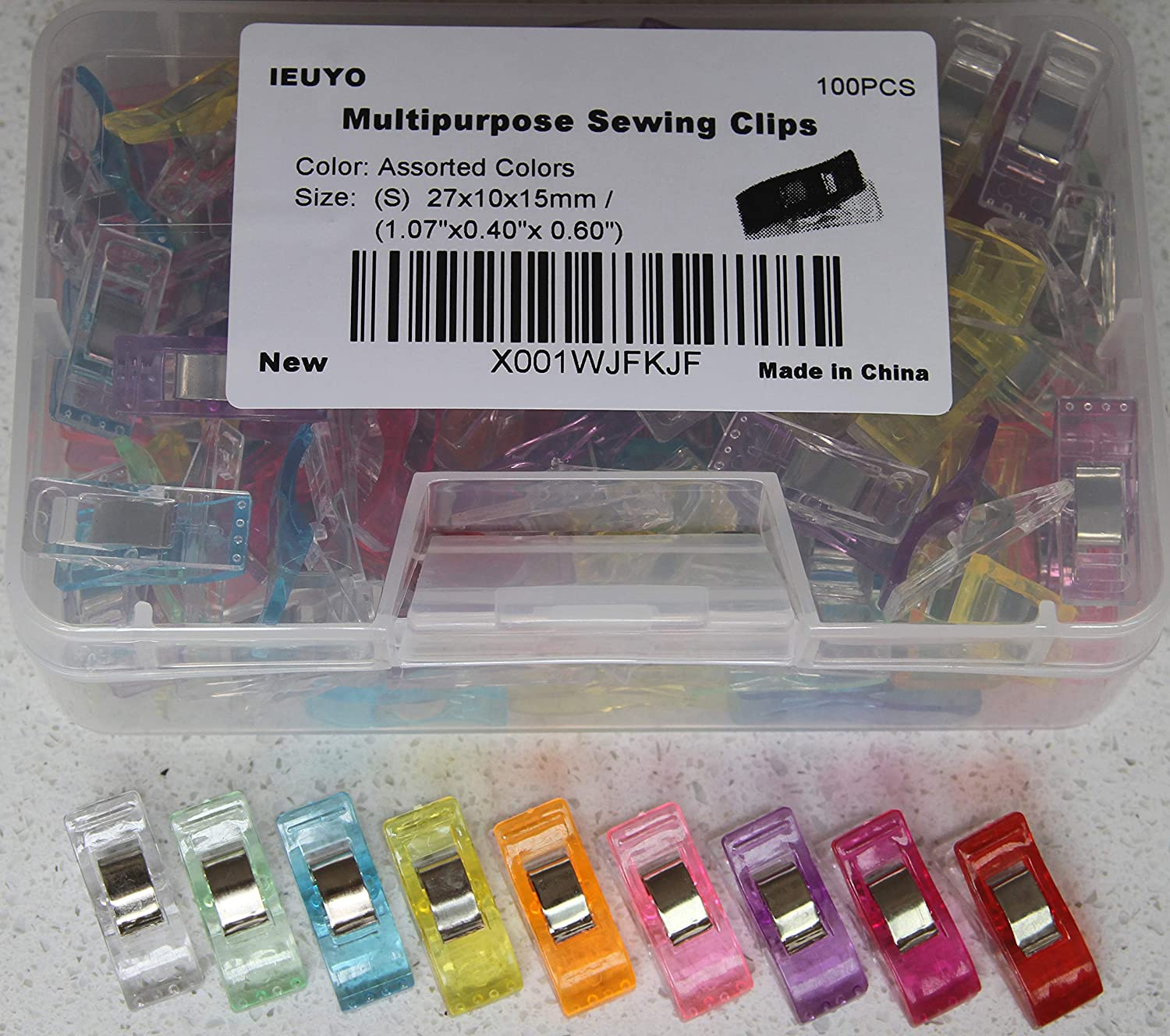 IEUYO 100PCS Sewing Clips, Multipurpose Craft Clips with PP Box