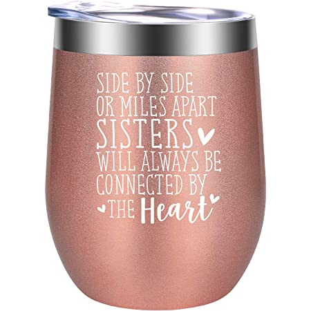 Worlds Okayest Sister Best Friends Insulated Stainless Steel Wine Tumbler with Lid Birthday Gifts for Sister Onebttl Rose Gold Sister Gifts from Sister Wine Gifts for Women