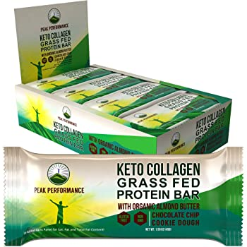 Keto Bars - Grass Fed Collagen with Organic Almond Butter.12 Pack Keto Protein Bar Snacks No Gluten and 1g Sugar. 4 Delicious Flavors Ketogenic + Paleo Perfect Snack Bar. Chocolate Chip Cookie Dough