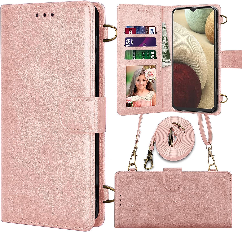 Njjex Moto G Stylus 2021 5G Case, Motorola G Stylus 2021 5G Wallet Case, RFID PU Leather Card Slots Holder Folio Flip Kickstand [Magnetic Detachable] Phone Cover & Crossbody Strap Lanyard -Rose Gold