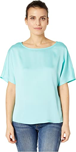 Petite Short Sleeve Pleated Back Hammer Satin Blouse