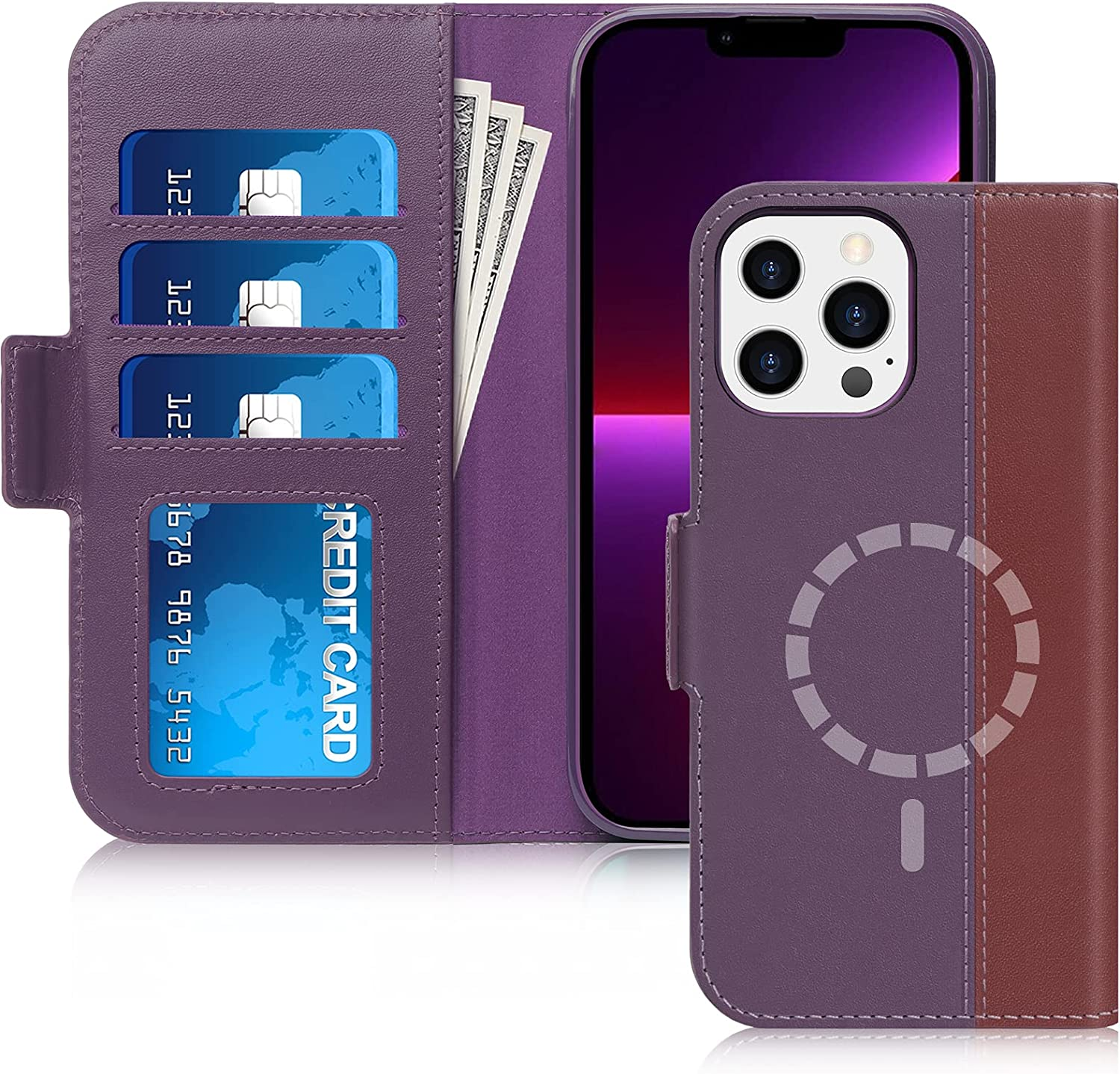 FYY Designed for iPhone 13 Pro Max 5G Case, [Support Magsafe Charging][Genuine Leather] Wallet Phone Case with Card Holder Protective Shockproof Cover for iPhone 13 Pro Max 5G 6.7