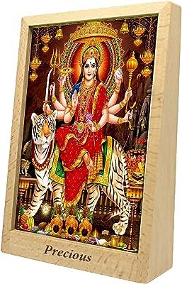 PixArt Goddess Religious Frame/Shera Vali Maa Photo with Frame/Shubh Navratri/Maa Kali Photo Frame/Devi Maa