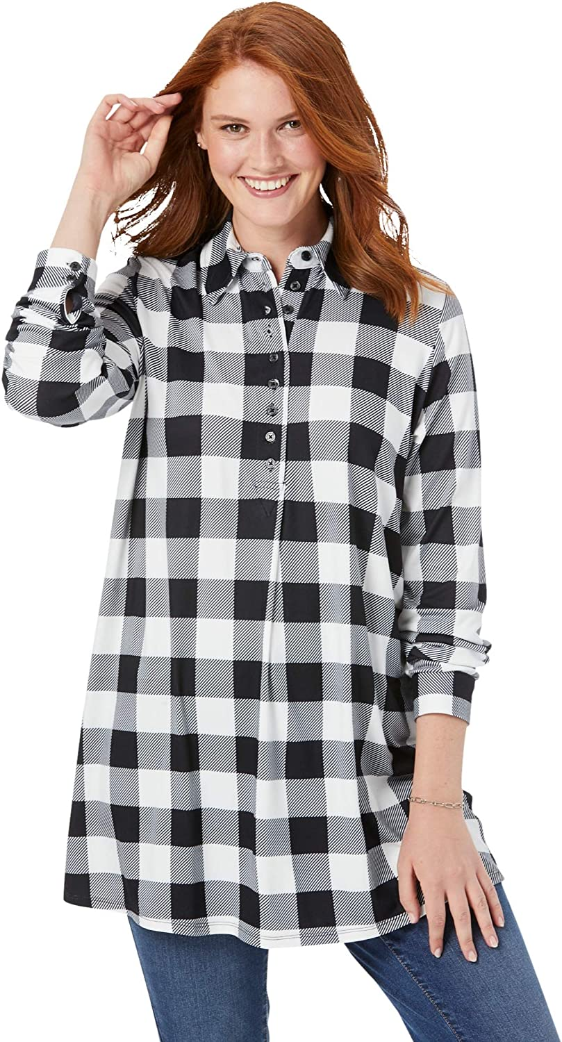 Woman Within 2021 new Women's Plus Size Plaid Tunic Knit Super special price Collar With