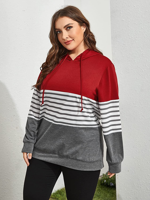 Floerns Women's Plus Size Colorblock Drawstring Hoodie Pullover Tops Sweatshirt
