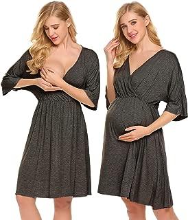 Ekouaer Women's Maternity Dress Pregnant Nursing Elegant Nightgown Breastfeeding Sleepwear (FBA)