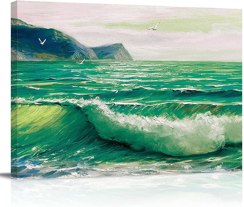 Canvas Paintings Oil Painting Wall Decor Beach Summer Ocea Green Award-winning store Financial sales sale