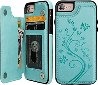 iPhone 7 iPhone 8 Case Wallet with Card Holder, Vaburs Embossed Butterfly Premium PU Leather Double Magnetic Buttons Flip Shockproof Protective Cover for iPhone 7 iPhone 8 Case(Mint Green)