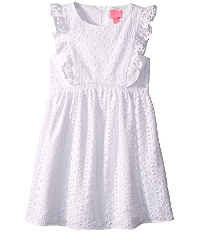 Lilly Pulitzer Kids Madelina Dress (Toddler/Little Kids/Big Kids) (Resort White/Oval Flower Petal Eyelet) Girl