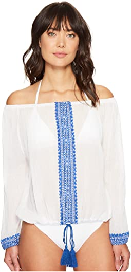Capri Cropped Peasant Top Cover-Up