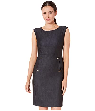 Calvin Klein Denim Dress w/ Hardware Detail at Pockets (Blue) Women