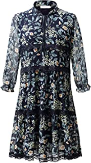 NAMETSHE Women's Plus Size Casual Floral Print Lace A-Line 3/4 Sleeve V-Neck Loose Chiffon Dress