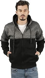 fanideazMen's Cotton Grindle Color Block Hooded Sweatshirt with Zip