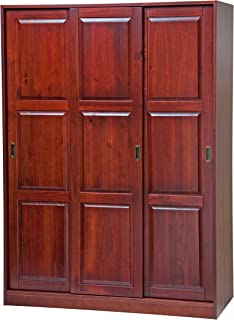 100% Solid Wood 3-Sliding Door Wardrobe/Armoire/Closet/Mudroom Storage by Palace Imports, Mahogany. 1 Large/4 Small Shelves. Extra Large Shelves Sold Separately.