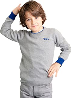 Dakomoda Toddler Boy's Cashmere Gray Wool Blend Crew Neck Sweater with Blue Contrasts
