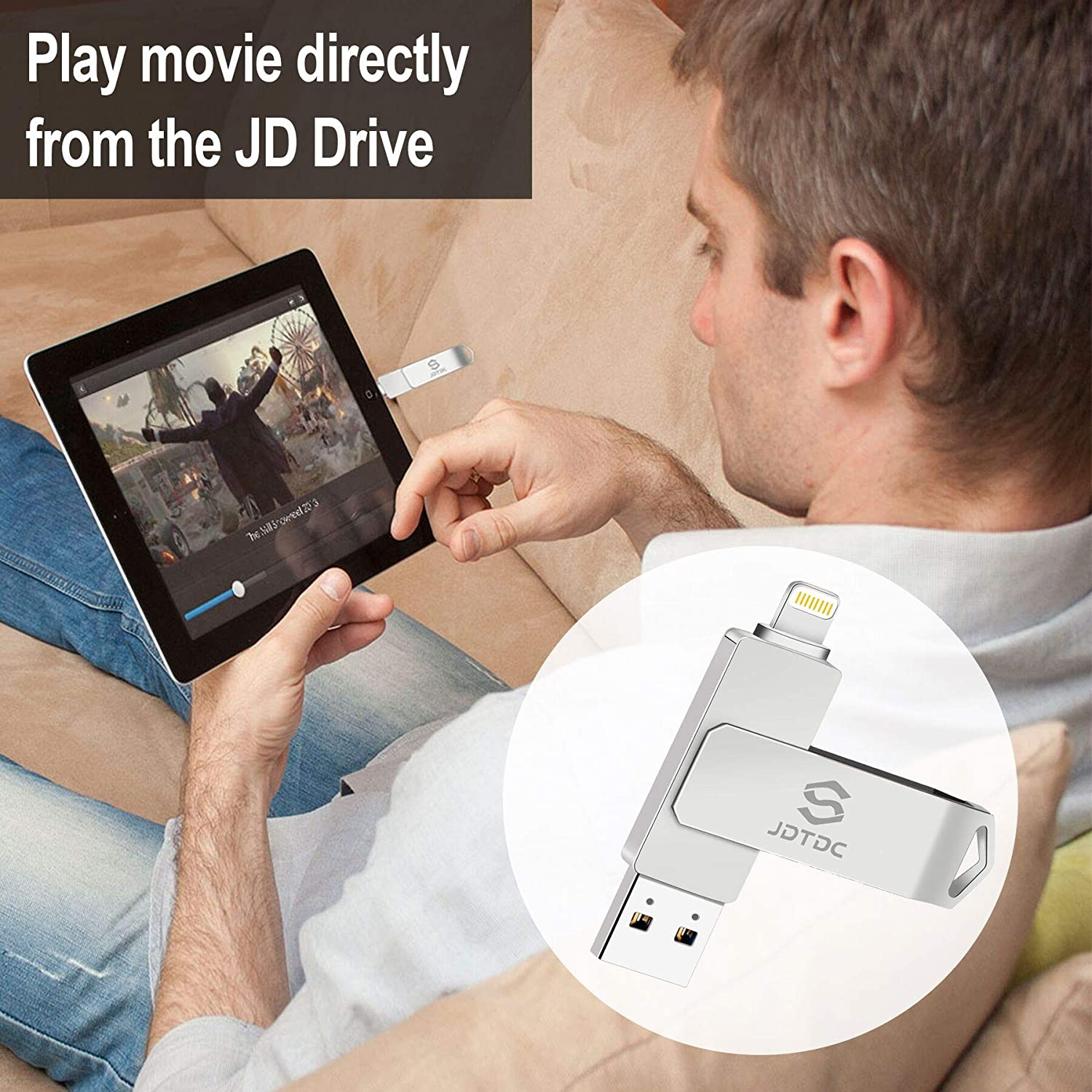 Apple MFi Certified 128GB Photo-Stick-for-iPhone-Storage iPhone-Memory iPhone USB for Photos iPhone USB Flash Drive Memory for iPad External iPhone Storage iPhone Thumb Drive for iPad Photo Stick
