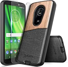 Moto G6 Play Case, Moto G6 Forge/Moto E5 (XT1920DL) Case with Tempered Glass Screen Protector, NageBee Premium Natural Wood Canvas Fabrics Heavy Duty Shockproof Hybrid Rugged Durable Case -Wood