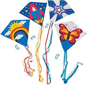 Fun Express Assorted Flying Kite Pack 28 x 28in with 54 in Tails - Assorted Styles and Colors - 200 ft of String with Handle - 12 Pieces