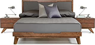 Limari Home Maurice Collection Mid-Century Modern Style Veneer Finished Bed With Linen Fabric Headboard, Eastern King, Grey & Walnut