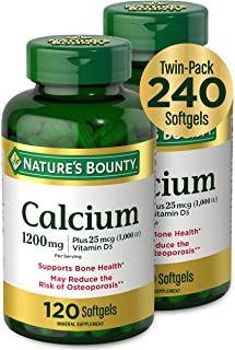 Calcium & Vitamin D by Nature's Bounty, Immune Support & Bone Health, 1200mg Calcium & 1000IU Vitamin D3, 120 Softgels (2-...