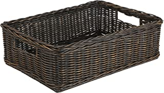 The Basket Lady Under The Bed/Basic Wicker Storage Basket, Medium, 20 in L x 14.5 in W x 6 in H, Antique Walnut Brown