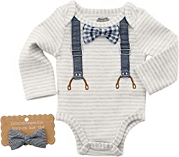 Mud Pie - Long Sleeve Crawler with Interchangeable Bow Ties (Infant)