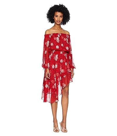 The Kooples Open Shoulder Dress in Rosie Blues Print Silk Muslin (Red) Women