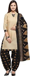 Rajnandini Beige Cotton Salwar Suit For Women (Ready To Wear)(One Size)