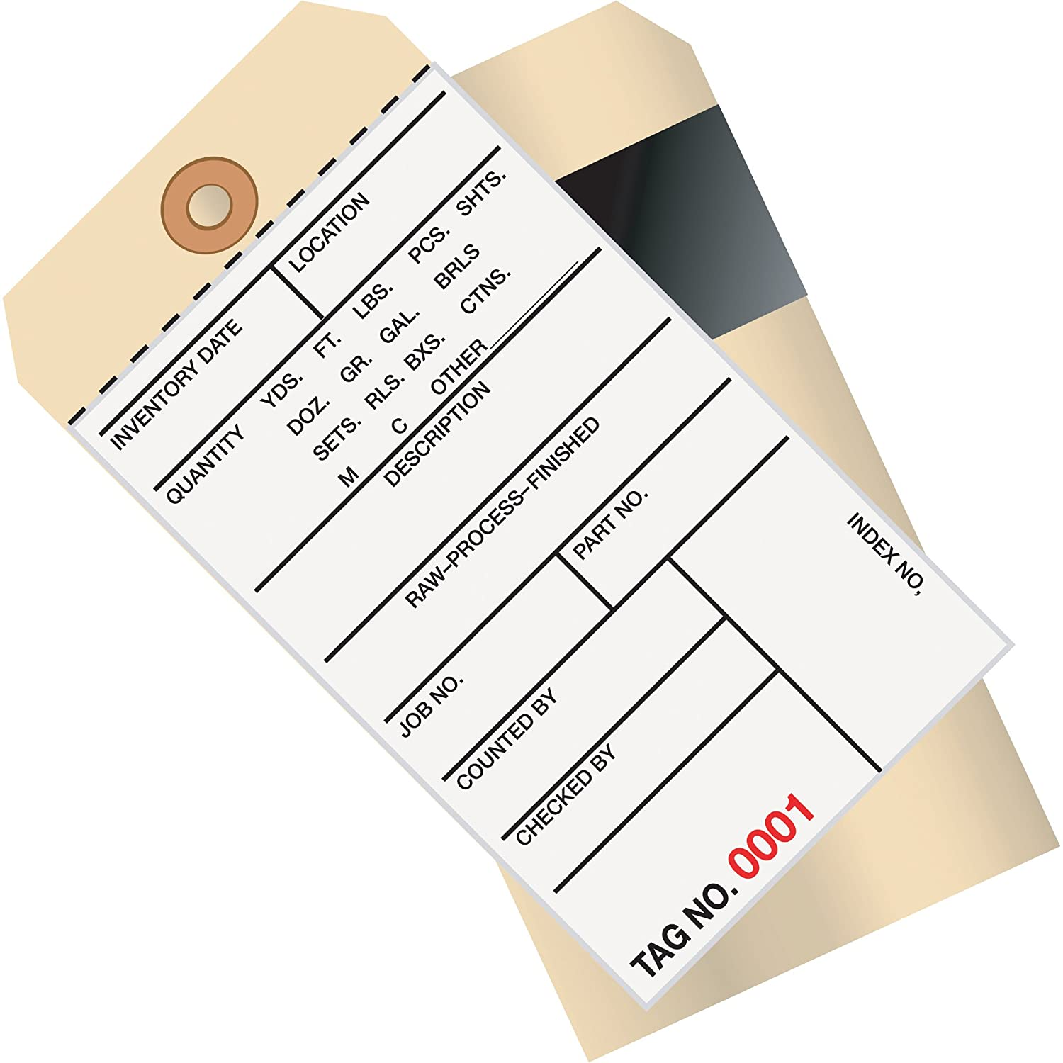 Inventory Tags, 2 Part Carbon Style #8, (3500-3999), 6 1/4
