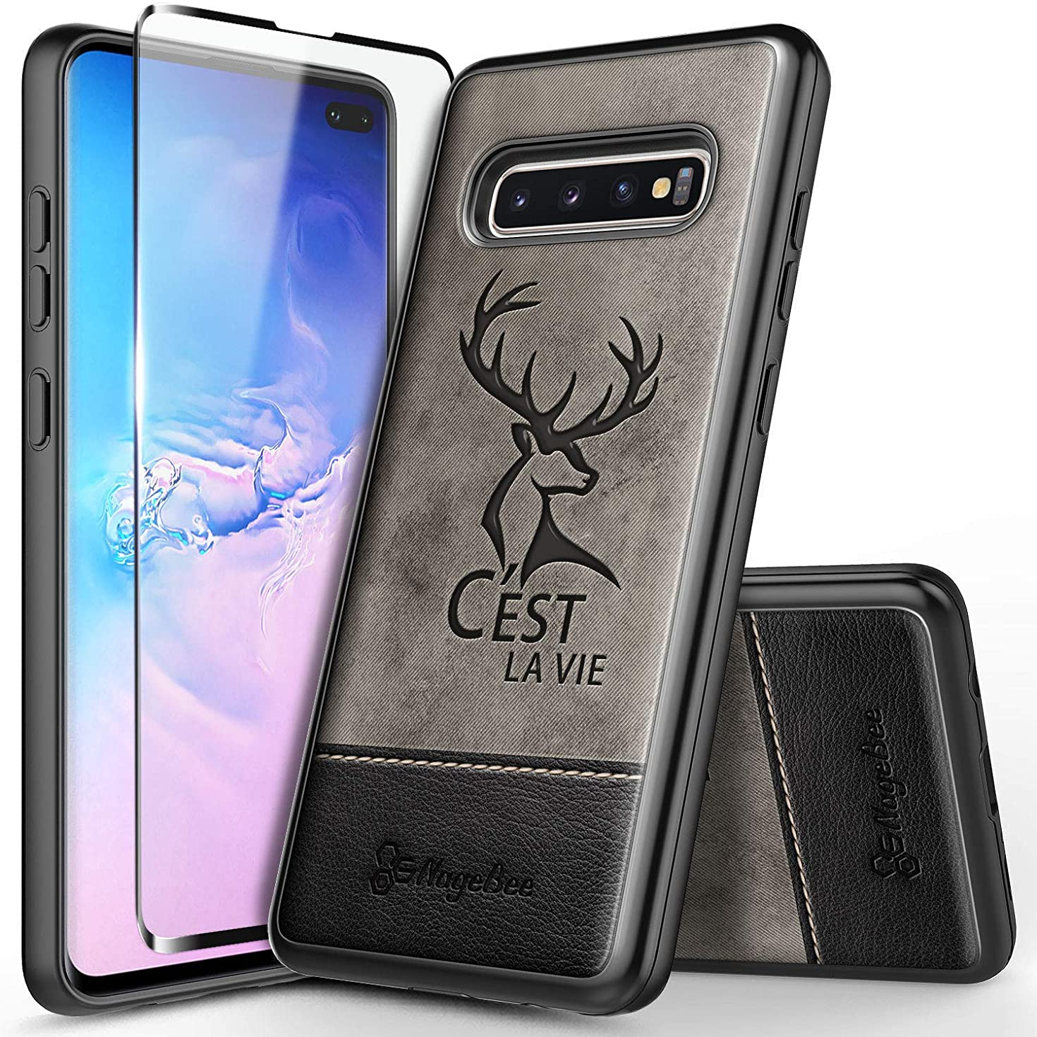 Galaxy S10 Case w/[Full Coverage Soft Screen Protector HD Clear], NageBee Premium Canvas Fabrics with Leather Heavy Duty Shockproof Dual Layer Hybrid Rugged Durable Case for Samsung Galaxy S10 -Deer