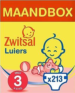 Zwitsal Luiers maat 3 (4-9 kg), langdurig droog met urine indicator, 213 luiers - Voordeelverpakking