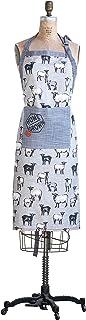 "Creative Co-Op Sheep Print Cotton Apron with Pocket, 38"" L x 28"" W, Blue"