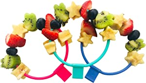 Skercle: the Skewer that's a Circle! Safe, enclosed circular skewers. Tapered Handle. Great for kids snacks, lunchboxes, finger food and party platters. Set of 3 with slim lightweight handle.