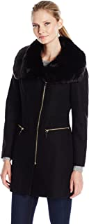 Women's Asymmetric Wool Coat with Oversized Faux Fur Collar