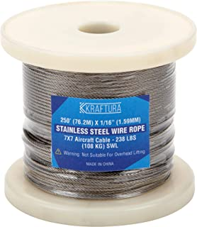 Kraftura Wire Rope 250 Ft - 1/16th Inch 304 Stainless Steel Cable – Strong Wire Cable for Indoor & Outdoor Use - Lightweight, Corrosion & Abrasion Resistant Cable for Hanging Lights, Fans, Pictures