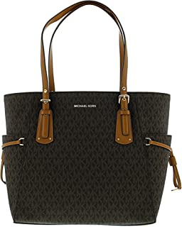 Michael Kors Women's Voyager Logo Bag Leather Top-Handle Tote