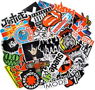 Rock Music Punk Band Stickers Pack(100-pcs), No Repeat Stickers for Laptop Ipad Electric Guitar Bass Drum Skateboard Motorcycle with Waterproof PVC