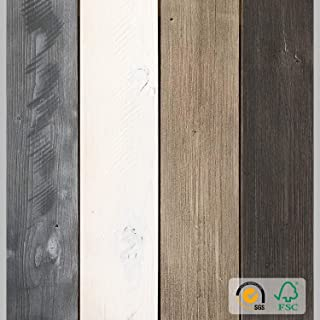 Reclaimed Peel and Stick Wood Planks for Walls, Accent Wall Panels Weathered Rustic Interior Decor (Sample Pack, Mix 1-4in1)