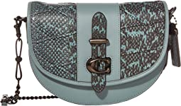 코치 새들백 COACH Genuine Snake Quilting Saddle Bag 20,Blue