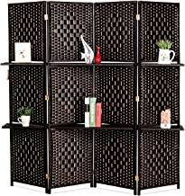 Bonnlo Upgraded Heavy Duty 6FT Tall Rattan Room Divider Screens with Partition Wall 2 Display Shelves, Indoor Folding Screen Dual-Sided Hinges for Home Office (4 Panels)