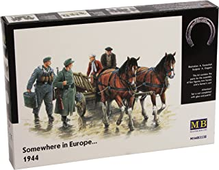 Master Box Somewhere in Europe 1944 (4 Figures, 2 Horses and Cart) Figure Model Building Kits (1:35 Scale)