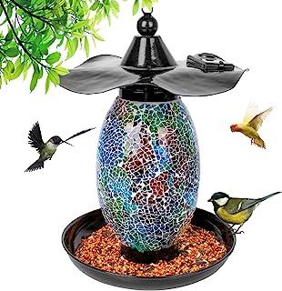 Solar Bird Feeder for Outside,Squirrel Proof Bird Feeders Wild Bird Feeders Hanging Outdoor Mosaic Decor Solar Powered Gar...